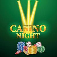 realistic style casino background with golden text and casino chips and dice vector
