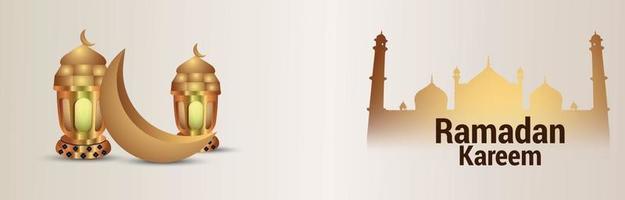 fondo realista de ramadan kareem con linterna dorada islámica luna y mezquita vector
