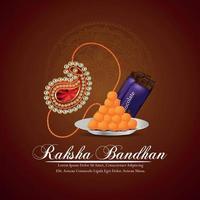 Indian festival of happy raksha bandhan celebration greeting card with rakhi and sweet vector