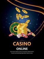 Realistic casino vector illustration with roulette wheel chips and gold coin