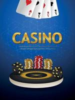 Casino gambling game with golden text effect with casino chips vector