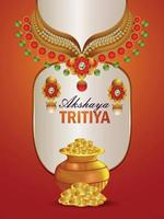 Indian festival akshaya tritiya invitation flyer with realistic golden necklace and gold coin vector