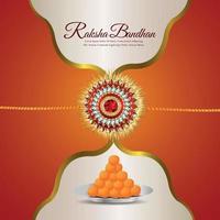 Raksha bandhan the festival of india celebration greeting card with sweet vector