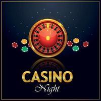 Fondo de invitación vip de lujo de casino con ruleta y fichas de casino vector