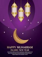 Islamic festival happy muharram party flyer with realistic golden moon and arabic lantern vector