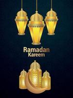 Ilustración de vector realista de ramadan kareem con linterna dorada