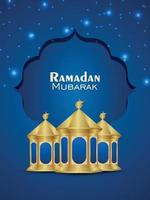 Islamic festival of ramadan kareem vector islamic golden lantern on blue background