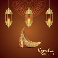Elegant vector golden moon of ramadan kareem invitation design with mosque