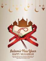 ilustración vectorial del año nuevo islámico con el libro sagrado corán y la mezquita vector
