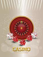 Casino gambling game with roulette wheel and dice on creative background vector