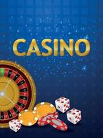 Casino gambling game with realistic roulette wheel playing cards and dice vector