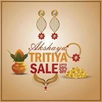 Akshaya tritiya indian festival jewellery sale promotion with gold necklace and kalash vector
