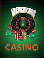 Casino gambling game with realistic roulette wheel playing chips and dice vector