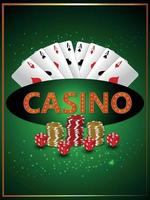 Casino gambling game with vector illustration of roulette wheel chips and playing cards