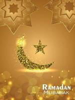 Golden glitter moon and star of ramadan mubarak with pattern background vector