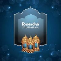 Islamic festival ramadan kareem invitation greeting card with golden realistic lantern vector