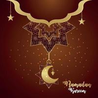 Ramadan kareem islamic festival celebration greeting card with pattern moon on creative background vector
