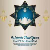 Islamic new year happy muharram realistic pattern golden lantern and mosque vector