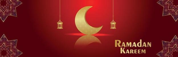 Ramadan kareem islamic festival with golden moon on red background vector