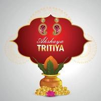 Akshaya tritiya illustration with gold coin and kalash with diamond earings vector