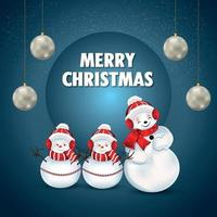 Creative vector illustration of merry christmas holiday background with creative snowballs