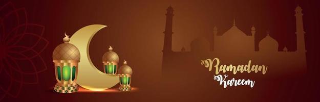 Ramadan kareem vector illustration on creative realistic background with creative islamic lantern and pattern moon