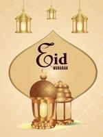 Realistic vector illustration of ramadan kareem invitation background with beautiful lantern