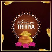 Akshaya tritiya invitation card with gold coin kalash vector