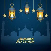 Eid mubarak or ramadan mubarak islamic background with arabic islamic golden lantern on pattern background vector
