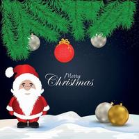 Christmas background concept wirh santa claus and snowballs vector