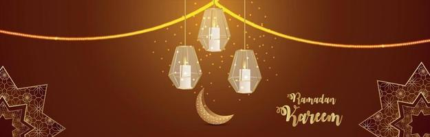 Eid mubarak indian festival invitation banner or header with golden ornamental on pattern background vector