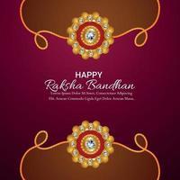 Indian festival happy raksha bandhan celebration greeting card with crystal rakhi and gifts vector