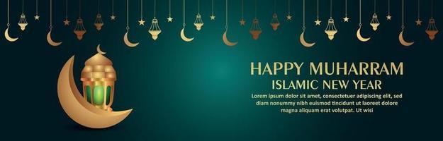 feliz año nuevo islámico realista muharram con ilustración vectorial linterna y luna vector