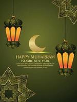 festival islámico feliz muharram con linterna islámica y fondo de patrón vector