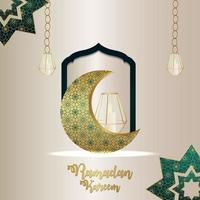 Ramadan kareem celebration background with islamic vector pattern moon and lantern