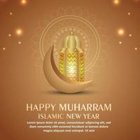 Happy muharram islamic new year invitation greeting card with golden moon and lantern vector