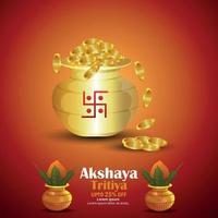 Creative Illustration For Festival Of Akshaya Tritiya sale background with gold coin and kalash vector