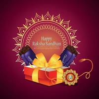 Indian festival of happy raksha bandhan invitation greeting card with vector gifts and sweet