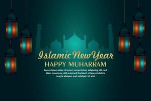 Happy muharram islamic background with creative lantern on background vector