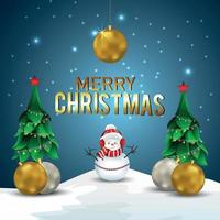 Merry christmas holiday background with vector illustration party ball and christmas tree