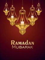 Ramadan mubarak invitation party flyer with vector illustration of candle lantern