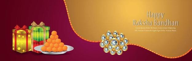 Indian festival of happy raksha bandhan celebration header with vector gifts and crystal rakhi