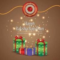 Raksha bandhan indian festival celebration greeting card with vector gifts and crystal rakhi