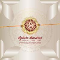 Happy raksha bandhan with crystal and gold rakhi on creative background vector