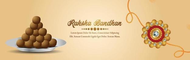 Raksha bandhan celebration banner or header with vector illustration and sweet