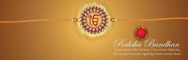 Raksha bandhan invitation banner or header with crystal and golden rakhi vector
