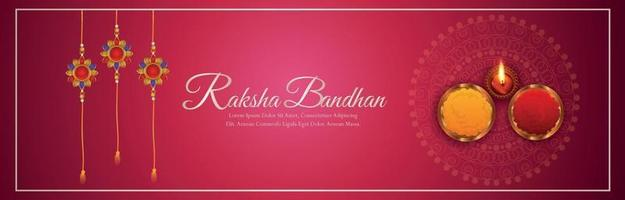 Raksha bandhan invitation banner or header with crystal rakhi vector