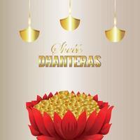 Dhanteras sale banner design with golden coin pots vector