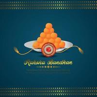 Raksha bandhan vector illustration of indian festival with rakhi and laddoo