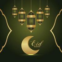 Eid mubarak or ramadan kareem celebration vector illustration and background with golden moon and lantern